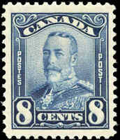 Mint H Canada 8c 1928 F-VF Scott #154 KGV Scroll Issue Stamp