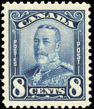 Mint Canada 8c 1928 Scott #154 KGV Scroll Issue Stamp Hinged