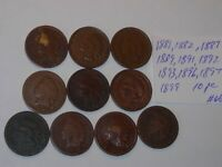 INDIAN HEAD penny SMALL CENT 1881,1882,1887,1889,1891,1892,1893-99, 10 PC LOT #C