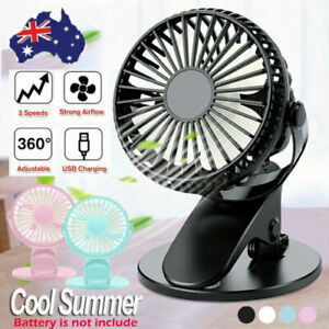 360° Portable Travel Fan Rechargeable USB Clip On Mini Desk Fan with 3 Speeds