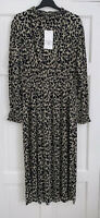 ZARA BLACK/BROWN PLEATED LEOPARD ANIMAL PRINT HIGH NECK MIDI DRESS SIZE S BNWT