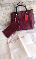 Ivanka Trump Burgundy Black Faux Leather Tote Handbag Satchel w/ Dust cover NWT