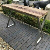 Console Table - Reclaimed Railway Sleeper Wooden Top - Copper Coloured Base