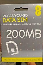 EE 4G/3G Broadband PAYG data Sim tablets/dongles (200 mb free)