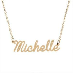 Unisex Custom Name Pendant Chain Customized Nameplate Michelle Necklace