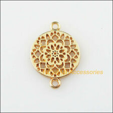 20 New Round Flower Charms KC Gold Plated Connectors Pendants 14x20mm