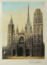 Antique Original Etching by Victor Valery -- Rouen Cathedral, Normandy, France