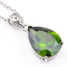 Fire Water Drop Olive Peridot Cubic Zirconia Gems Silver Pendants Necklaces