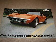 """1972 Chevrolet Corvette Dealer Sales-Showroom Brochure, Poster Stingray 11""""x18"""""""