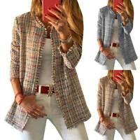 Damen Jacke Mantel Kariert Geschäft Blazer Jacken Freizeit Büro Anzug Cardigans