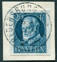 BAVARIA 1920 20pf greenish blue SG182 used NG IMPERF King Ludwig III on piece a3