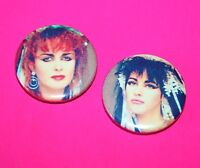 SET OF TWO STRAWBERRY SWITCHBLADE JILL BRYSON ROSE MCDOWALL BUTTON PIN BADGES