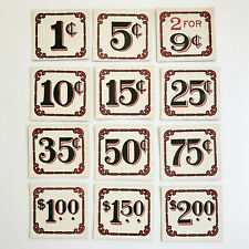 Vintage Store Price Tags Red Border Gothic Numbers One Dozen