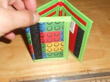 Building Block Brick Design On Tri-Fold Wallet w/Velcro Nylon GREEN (Not Lego
