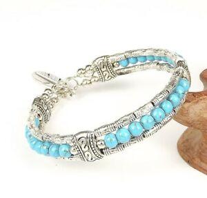 Ladies Jewelry Tibetan Silver Bracelet Blue Turquoise Bead Bangle Woman Bracelet