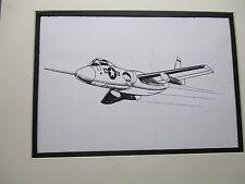 Chance Vought F7U Cutlass Fighter  artist pen ink  1964 New York Worlds Fair