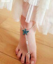 Foot Jewelry~Barefoo 00004000 t Sandals~Beachwear~Gift Boxed New Blue Rhinestone Starfish