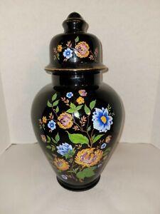 Black Flowered Large Temple Jar