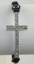 Silver or Gold Tone Sideways Cross / Crucifix / Rood Black Cord Bracelet Macrame