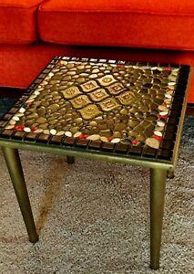 Vintage mid century modern mosaic tile side table