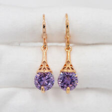 18K Yellow Gold Filled Purple Round Mystic Topaz Elegant  Drop Dangle Earrings
