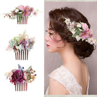 Boho Lady Flower Hair Comb Headband Bride Floral Wedding Hair Accessories Party