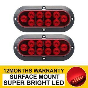 "2 X 6"" 10 LED Red Oval Side Marker Lights Brake Stop Lamps Truck Trailer Boat RV"