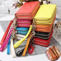 Women's Patent Leather Long Clutch Wallet Crocodile Double Zipper Card Holder