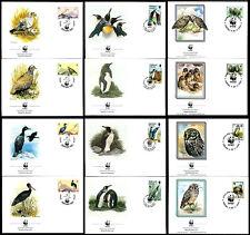 Gibraltar,Falkland,Aruba WWF Penguin,Vulture,Stork,Owl,Bird,Panda,Endangered,FDC