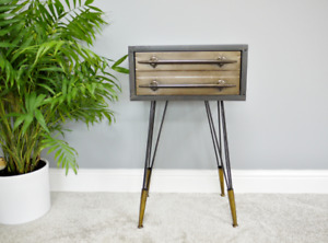 Retro Bedside Table Side End Lamp Cabinet Metal 1 Drawer Storage Hairpin Legs