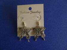 Tropicalia Handcrafted Tibetan Silver Butterfly Charm Hook Earrings