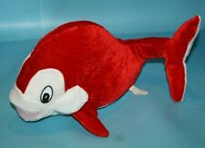 "A Mart WHALE 15"" Red White Velour Plush Soft Toy Thin Stuffed FISH 2010 Sewn Eye"