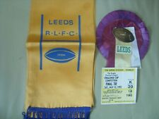 More details for leeds rugby league silk scarf  rosette  wembley ticket 1972 rhinos l.r.l.f.c.