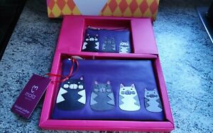 Mala leather 2 piece gift set zip coin purse + larger zip purse boxed cat design