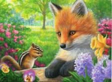 ACEO YOUNG RED FOX KIT CHIPMUNK GARDEN FLOWERS DAFFODIL PANSY SPRING PAINTING
