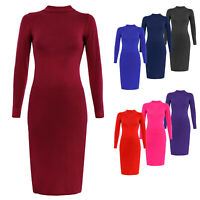 New Women's Polo Turtle high Neck Long Sleeve Plain Stretch Bodycon Midi Dress