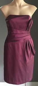 Metallic Plum MR K Strapless Knee Length Dress Size 10 - New with Tags