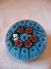 BEAUTIFUL GLASS PAPERWEIGHT  SHADES OF BLUE & RED FLORAL ARTE MURANESE