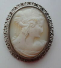 Georgian Fine Intricate Frame Carved Shell Cameo Lady 800 Silver Brooch Pendant