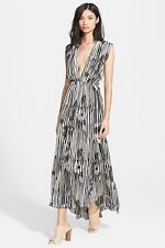 alice + olivia Women's Lexa Print Silk Maxi Dress abst woodg Size 6 $598 n9/24