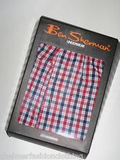 BRAND NEW IN BOX BEN SHERMAN Woven Checked Cotton Button Fly Boxer Shorts 4XL