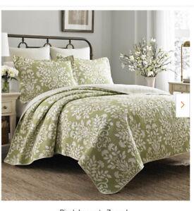 NIP Laura Ashley Rowland Breeze Green 100% Cotton Full/Queen Quilt & Shams Set