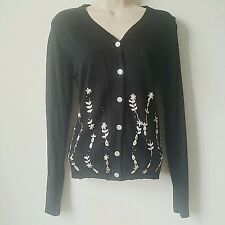 Woman Medium Button Long Sleeve Sweater Cardigan Black Embroidered Cervelle A2