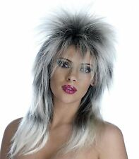 80s Rock Diva Wig Blonde Long Mullet Ladies Fancy Dress Costume Accessory Tina