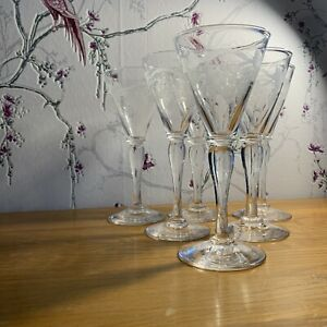 1 x Antique Late 18th - Early 19th Century Tall Stem Wine Glass  Hand Blown