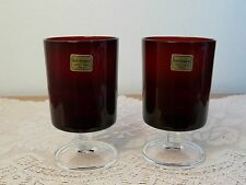 Cavalier Ruby Red Cristal D'Arques-Durand Luminarc France Clear Stemmed Glasses