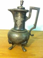 RARE 1800s VINTAGE/ANTIQUE SILVERPLATE-REDFIELD & RICE COFFEE TEA POT-HOOF FEET