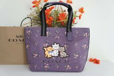 NWT Coach 91130 LIMITED ED X Disney Tote Bag With Rose Bouquet Print& Aristocats