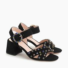 NIB J. Crew Women's Suede Penny Sandals with Crystals - Black - Size 5