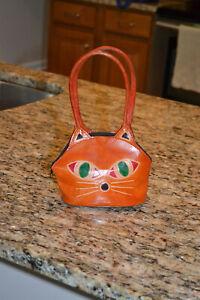 Vintage Kitty Cat Novelty Mini Bag Genuine Brown Leather